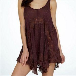 Free People She Swings lace tunic slip dress
